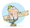 Occupation Cartoon of a Builder Holding a Piece of Lumber clipart