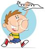 Cartoon of a Boy Playing with a Toy Plane clipart