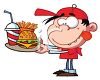 Cartoon of a Creepy Looking Kid Eating Fast Food clipart