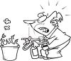 Cartoon of a Man Putting Out a Wastepaper Basket Fire clipart