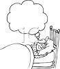 Black and White Cartoon of a Woman Dreaming clipart