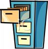 Filing Cabinet with the Top Drawer Open clipart