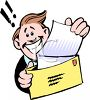 Happy Guy Getting a Letter with Good News clipart