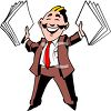Happy Businessman Holding Up Documents clipart