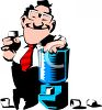 Office Worker Hanging Out Around the Water Cooler clipart