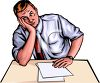 Bored Businessman Sitting at His Desk clipart