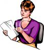 Realistic Style Secretary Looking Through Documents clipart