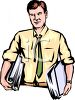 Man Carrying Binders Full of Documents clipart