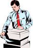 Office Worker Using a Copier Machine clipart