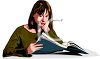 Lady Reading a File clipart