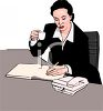 Businesswoman Drinking Coffee at Her Desk clipart