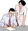 Realistic Style-Office Employees Working Together clipart