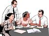 Realistic Style-Asian, African American and Caucasian Office Co Workers clipart