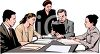 Realistic Style-Business Professionals Having a Meeting clipart