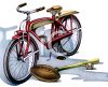 Retro Bike and Sports Equipment clipart
