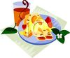 A Plate Of Strawberry Crepes And A Glass Of Orange Juice clipart