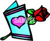 Valentine Card With A Rose clipart