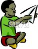 African American Boy Making a Paper Airplane clipart