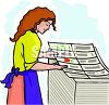 Woman Proofing Prints at a Print Shop clipart