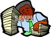 Black Businessman with a Huge Stack of Work Papers clipart