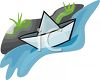 Paper Boat in a Creek clipart