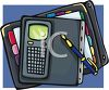 Day Planner or Organizer with a Calculator and Fountain Pen clipart