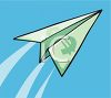 Paper Airplane with a Euro Symbol clipart
