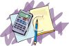 Math Workbook and a Calculator clipart