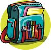 School Backpack with Supplies clipart