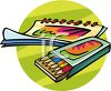 Artist's Book and a Pack of Colored Drawing Pencils clipart