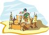 Man Building a Huge Sand Castle clipart