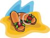 Floral Sandals in the Sand clipart