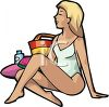 Blond Woman Sitting at the Beach clipart
