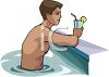 Young Man Having a Drink at the Pool clipart