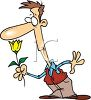 Cartoon of a Man Smelling a Spring Tulip clipart
