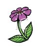 Cartoon of a Violet Flower clipart