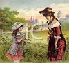 Victorian Girls Picking Flowers in a Field clipart