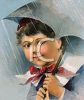 Vintage Boy Holding an Umbrella in the Rain clipart