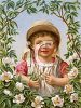 Victorian Child Surrounded By a Floral Border clipart