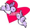 Love Birds Flying In Front Of A Heart clipart