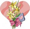 Bouquet Of Daffodils With A Valentines Card clipart