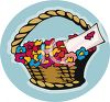 Basket Of Flowers With Valentine Card clipart