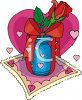 Red Rose In A Vase clipart
