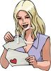 Woman Reading A Love Letter clipart