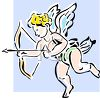 Cupid Holding An Arrow Drawn In A Bow clipart