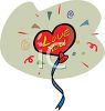 A Heart Shaped Balloon With Love You Written On It clipart