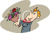 Man Holding A Bouquet Of Flowers clipart