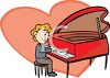 Man Playing A Heart Shaped Piano clipart