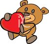 A Teddy Bear Holding A Heart clipart