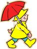 Little Kid Wearing Rain Gear Holding an Umbrella clipart